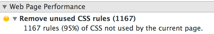 Chrome Web Developer Panel - 1167 (95%) of rules not used by the current page